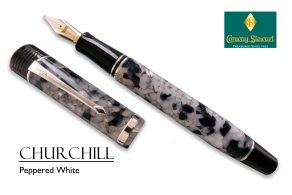 Conway Stewart Churchill Peppered White with sterling silver fittings